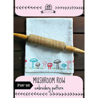 Mushroom Row Hand Embroidery Iron-on Pattern