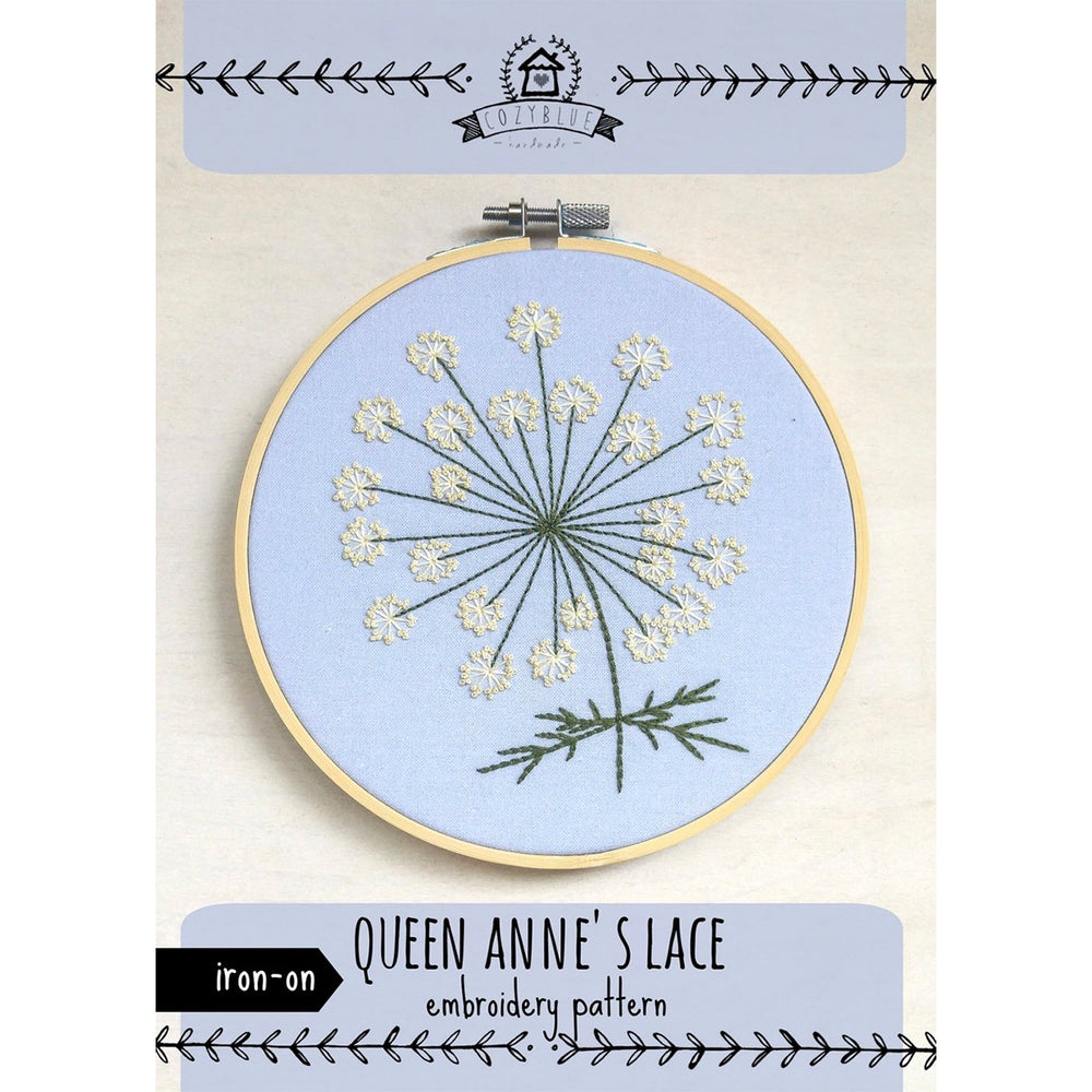 Queen Anne's Lace Hand Embroidery Iron-on Pattern