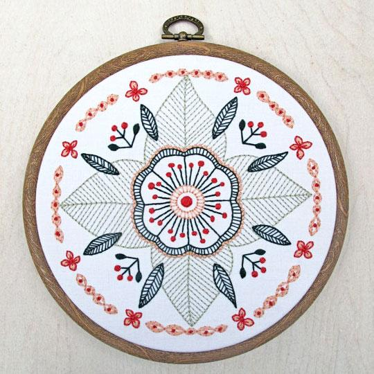 Floral Mandala Hand Embroidery Kit