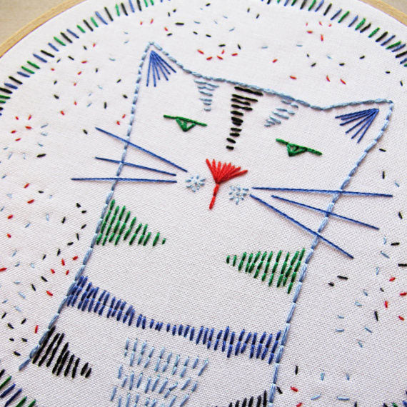Nigel Nine-Lives Cat Hand Embroidery Kit
