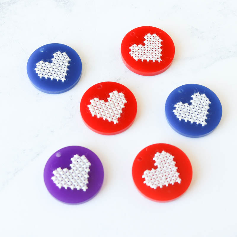 Acrylic Heart Cross Stitch Blanks - Red, Blue, Purple