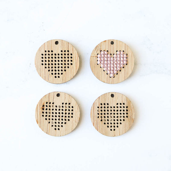 Bamboo Heart Cross Stitch Blanks - Set of 4