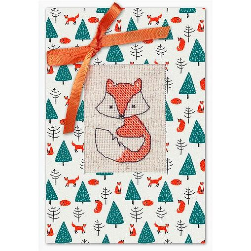Luca-S cross stitch postcard greeting card kit winter fox