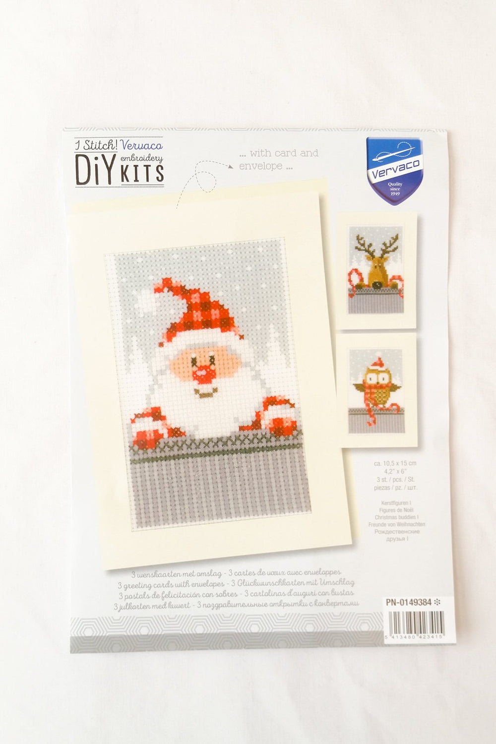 Cross Stitch Greeting Card Kit - Set of 3 Christmas Buddies