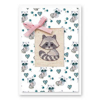 Luca-S cross stitch postcard greeting card raccoon