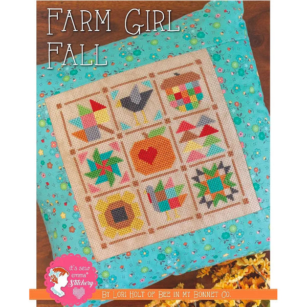 Farm Girl Fall Cross Stitch Pattern