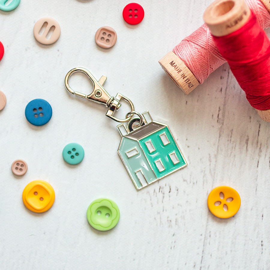Prim Village Cross Stitch Pattern with Keychain Charm