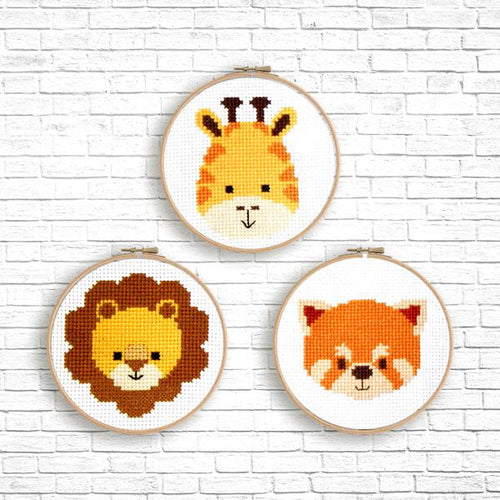 Animal Faces Cross Stitch Pattern
