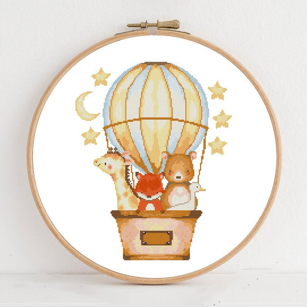 Balloon Ride Cross Stitch Pattern