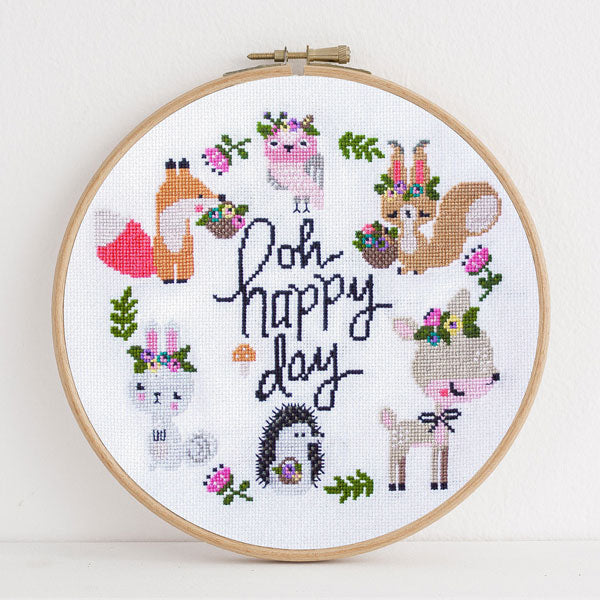 Happy Woodland Cross Stitch Pattern