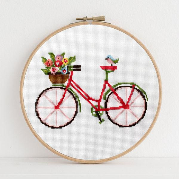 Spring Bicycle Cross Stitch Pattern