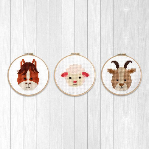 Farm Animals Cross Stitch Pattern