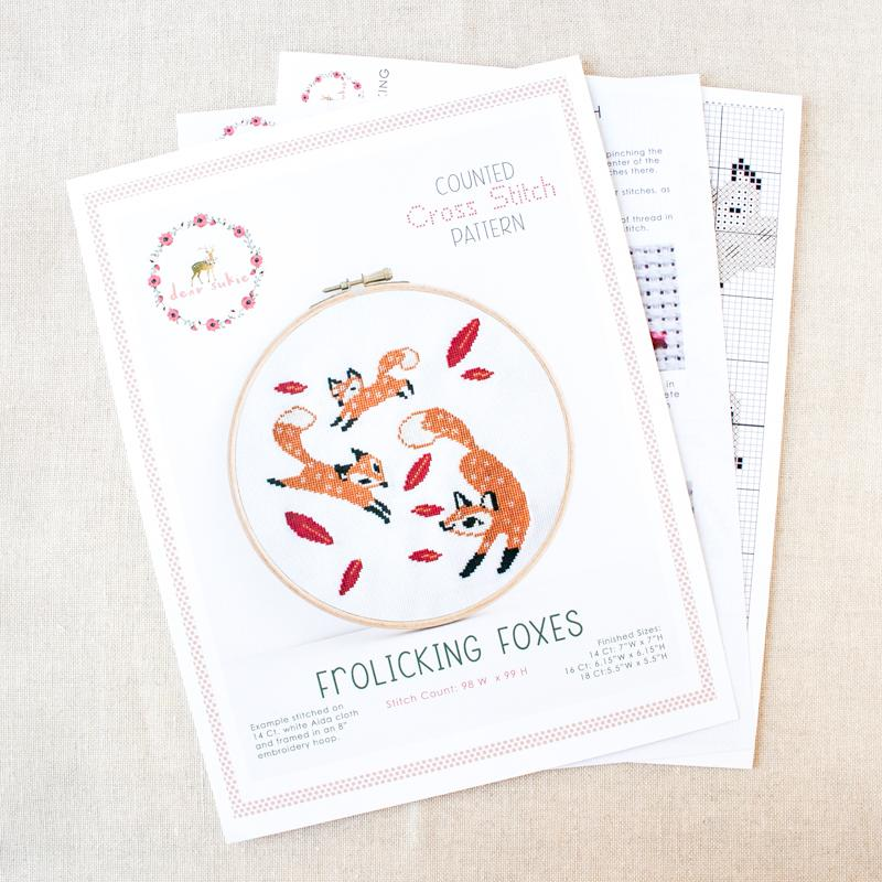Frolicking Foxes Cross Stitch Pattern