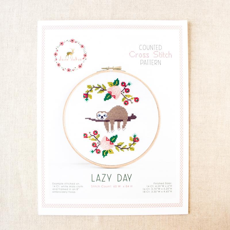 Lazy Day Sloth Cross Stitch Pattern