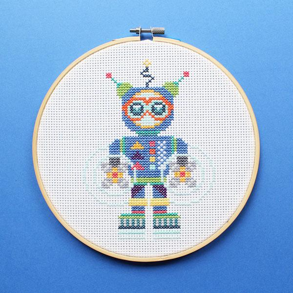 Aqua Bot Cross Stitch Kit
