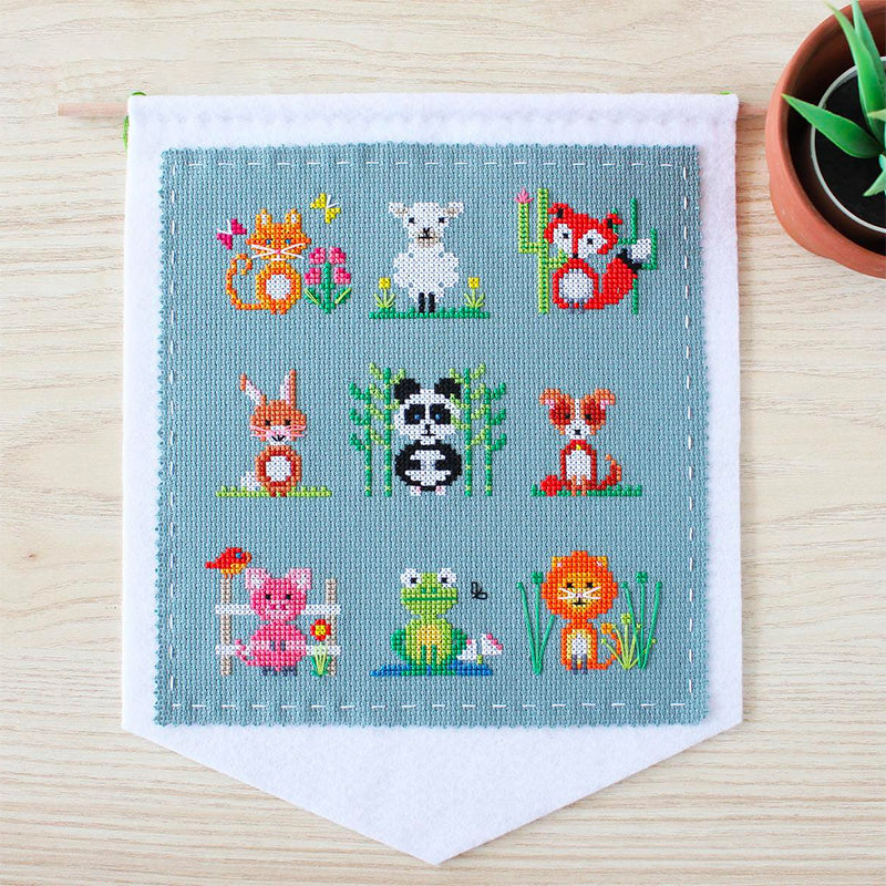 Animal Sampler Cross Stitch Wall Hanging Kit
