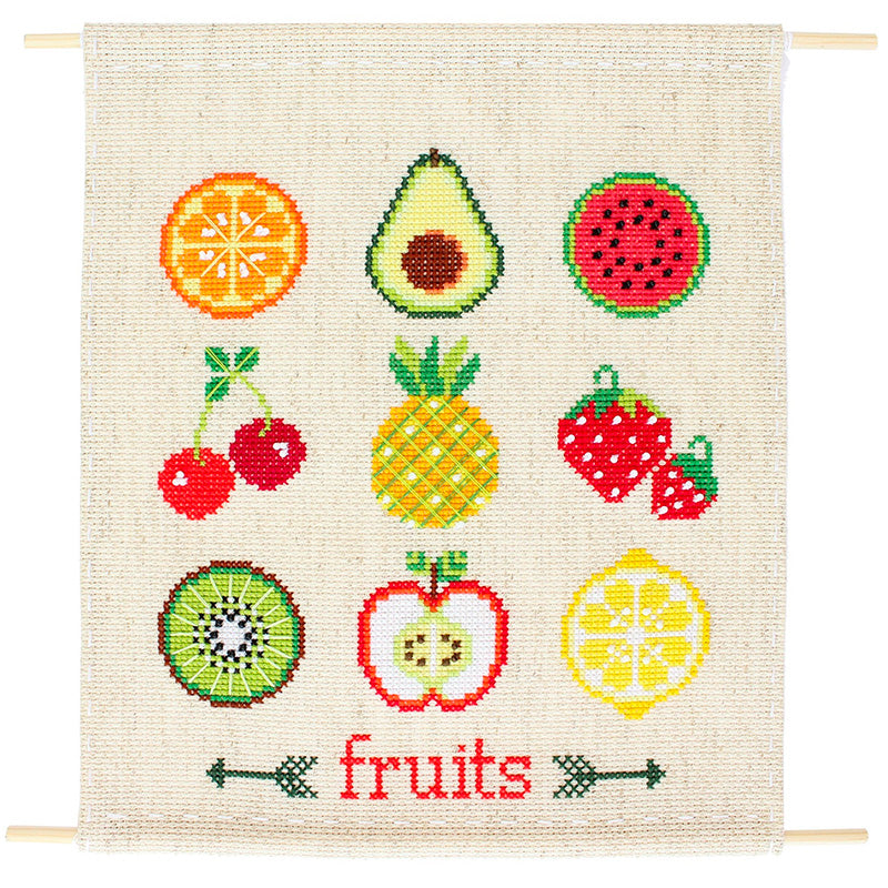 Fruit Sampler Cross Stitch Wall Hanging Kit