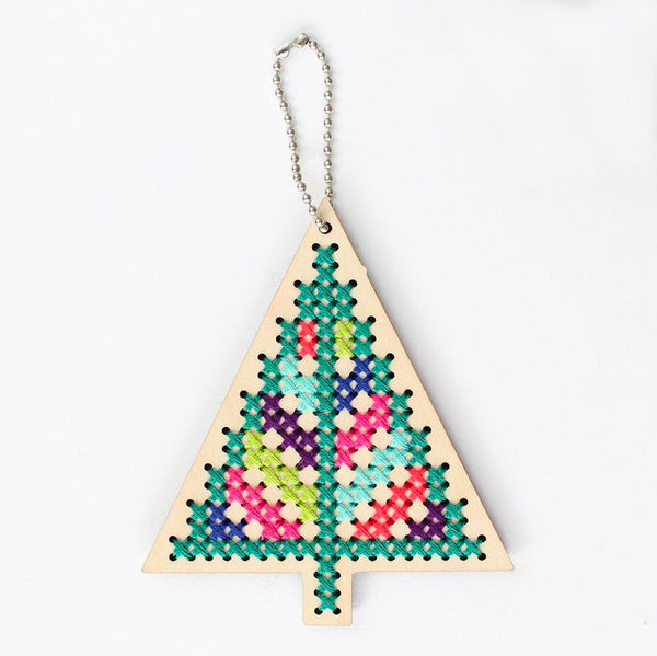 Wood Cross Stitch Ornament Kit - Christmas Tree