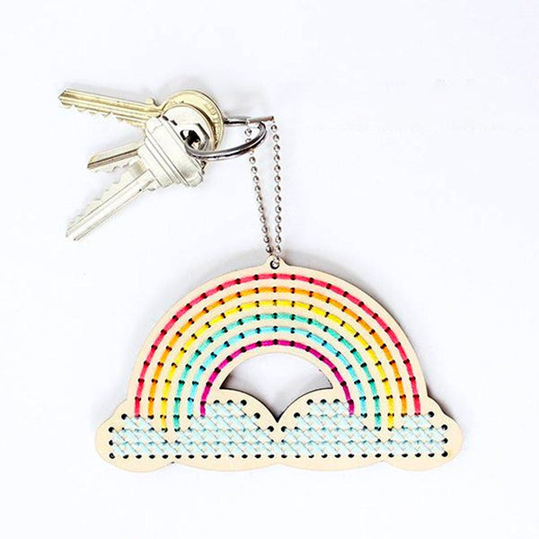 Wood Keychain Cross Stitch Kit - Over the Rainbow