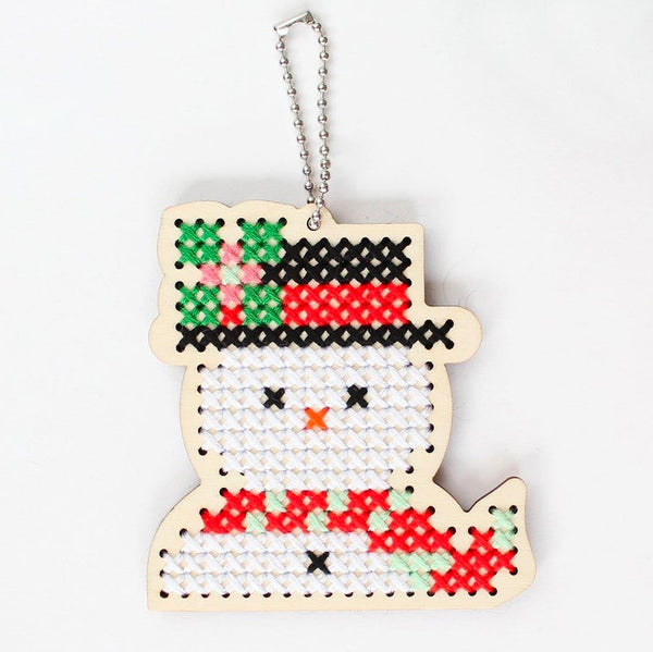 Wood Cross Stitch Ornament Kit - Snowman