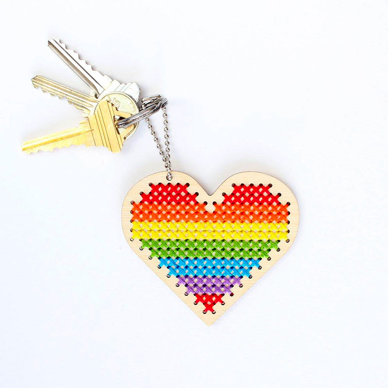 Wood Keychain Cross Stitch Kit - Sweet Heart