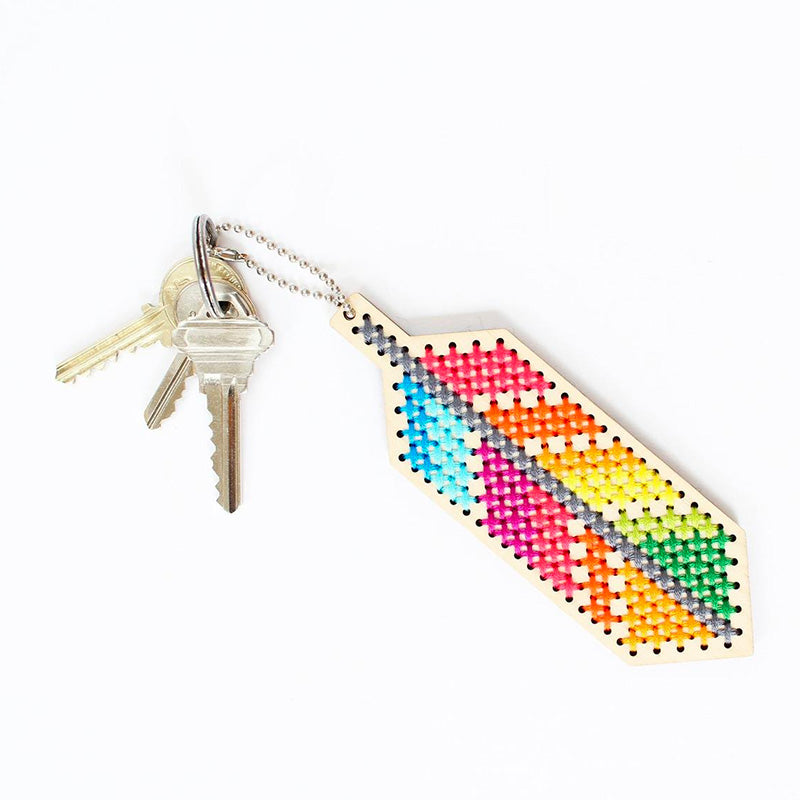 Wood Keychain Cross Stitch Kit - Feather