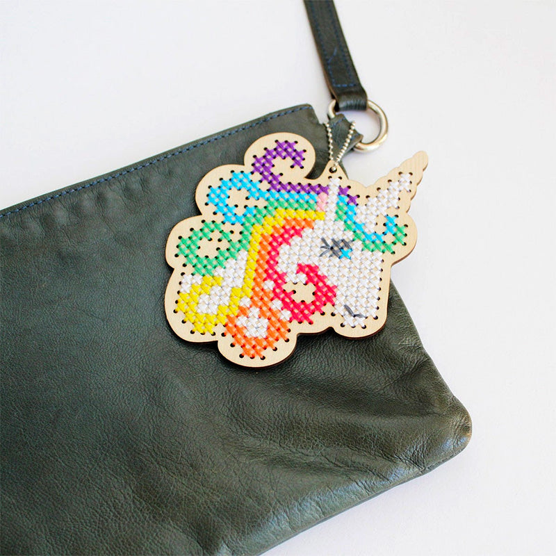 Wood Keychain Cross Stitch Kit - Unicorn