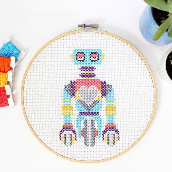 Wheelie Bot Cross Stitch Kit