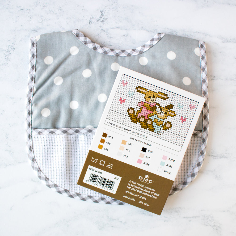 Cross Stitch Polka Dot Baby Bib