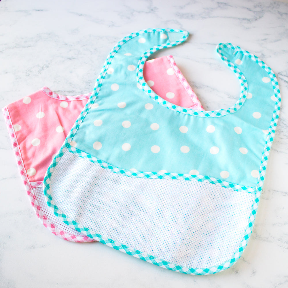 Cross Stitch Polka Dot Toddler Bib