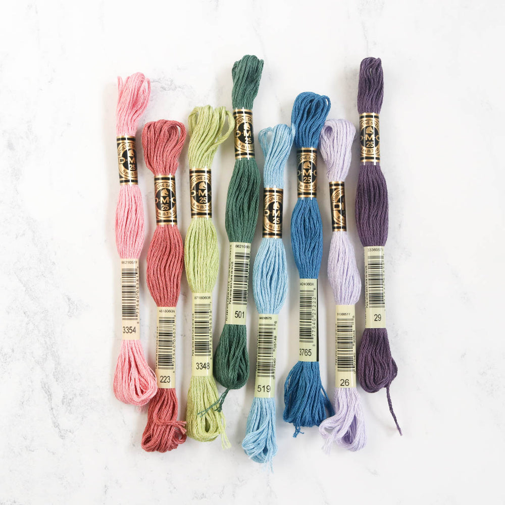 DMC Embroidery Floss Color Palette - Moody Succulent