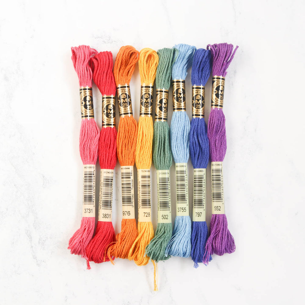 DMC Embroidery Floss Color Palette - Vintage Rainbow