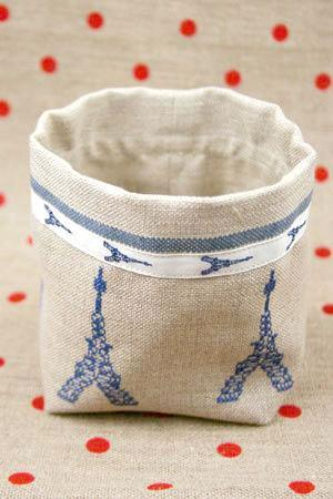 Cross Stitch Linen Bin Kit - Eiffel Tower