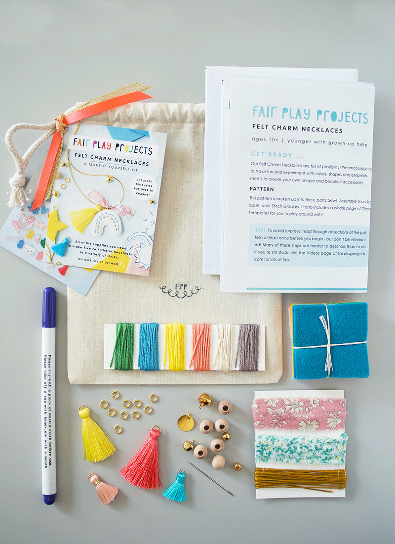DIY Felt Charm Necklace Kit - Letters and Charms