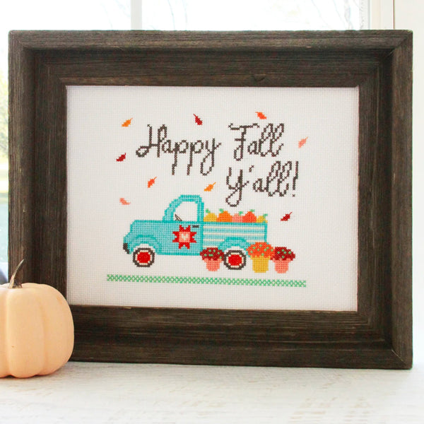 Happy Fall Y'all Cross Stitch Pattern