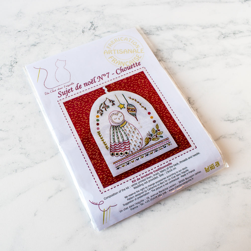 French Hand Embroidery Kit - Owl Ornament No. 7