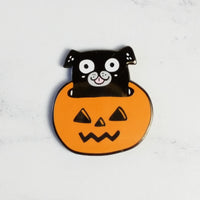 Magnetic Needle Minder Hoop Flair - Pug in a Jack-o-Lantern (30% OFF)