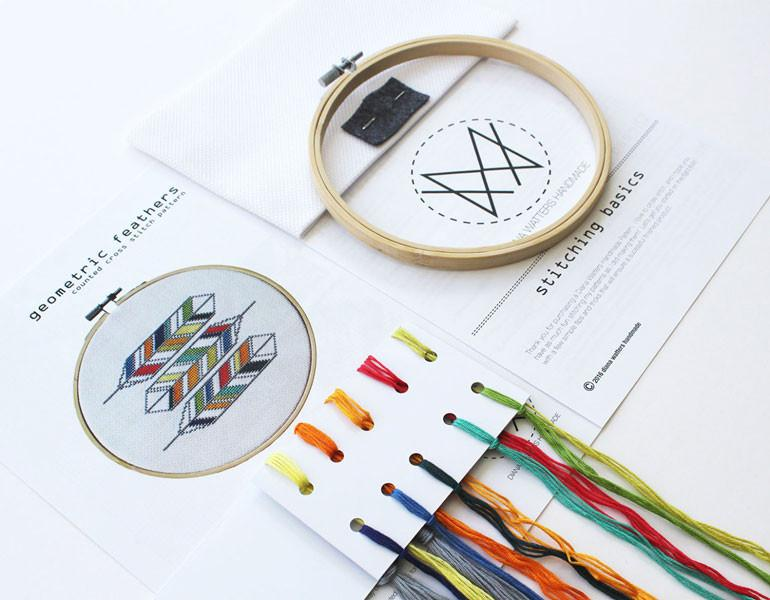 Geometric Feathers Cross Stitch Kit