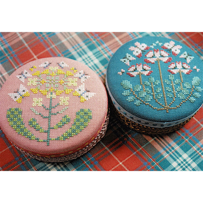 Floral Cross Stitch Pattern - Round Tin Cans