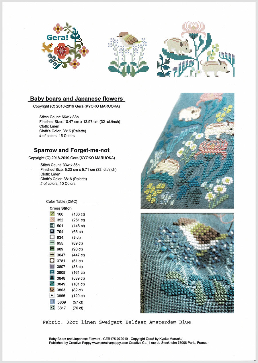 Sewing Set Cross Stitch Pattern - Baby Boars and Japanese Flowers