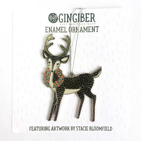 Merrily Deer Holiday Ornament by Gingiber