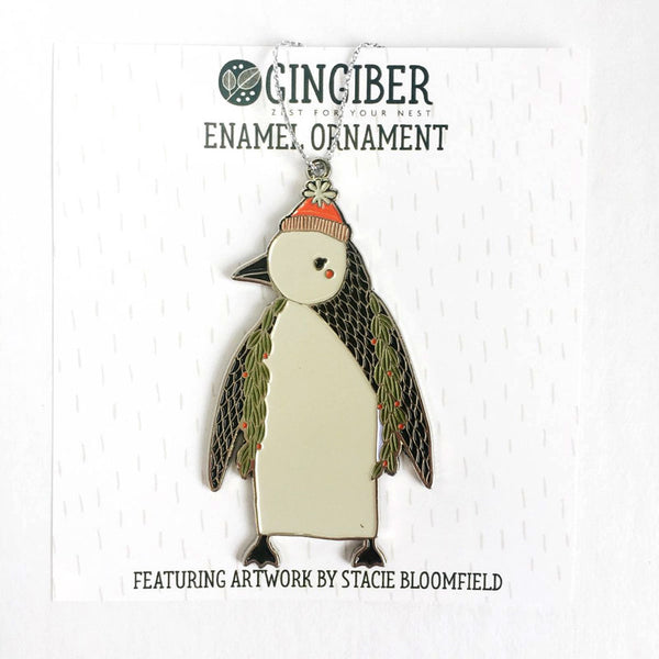 Merrily Penguin Holiday Ornament by Gingiber