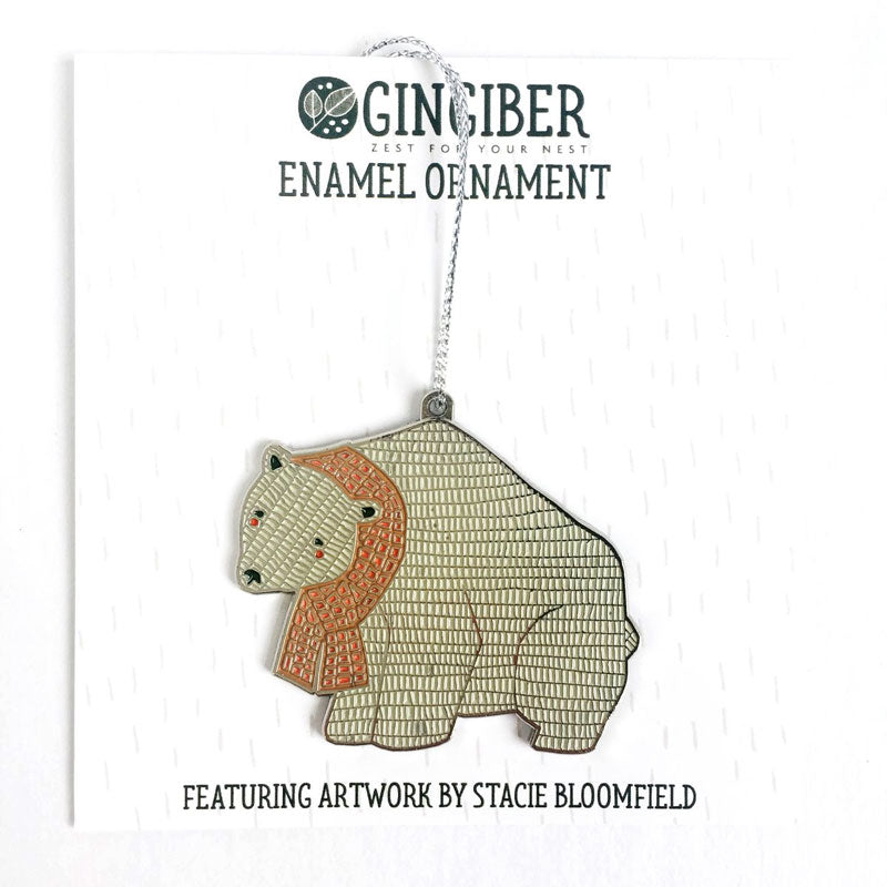 Merrily Polar Bear Holiday Ornament by Gingiber