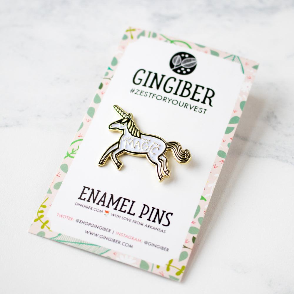 Create Your Own Magic Unicorn Enamel Pin by Gingiber (20% OFF)
