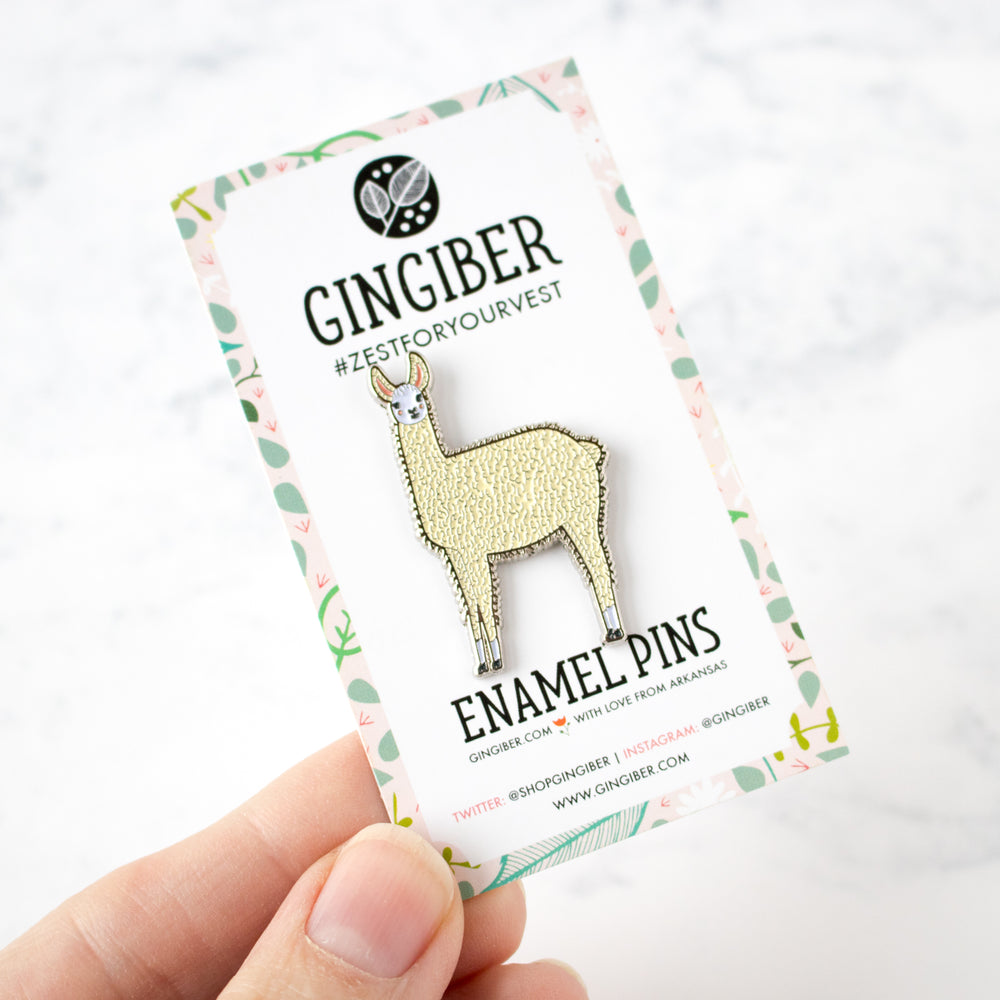 Llama Enamel Pin by Gingiber (20% OFF)