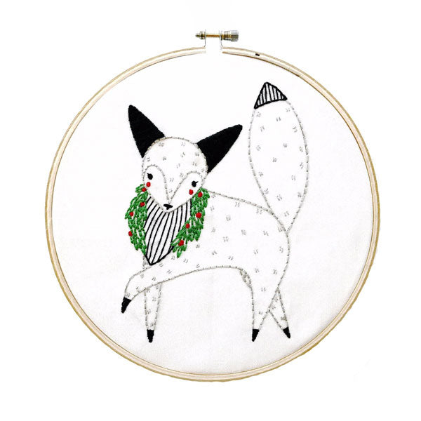 Merriment Arctic Fox Hand Embroidery Pattern