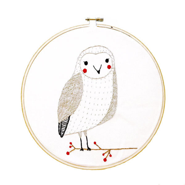 Merriment Snow Owl Hand Embroidery Pattern