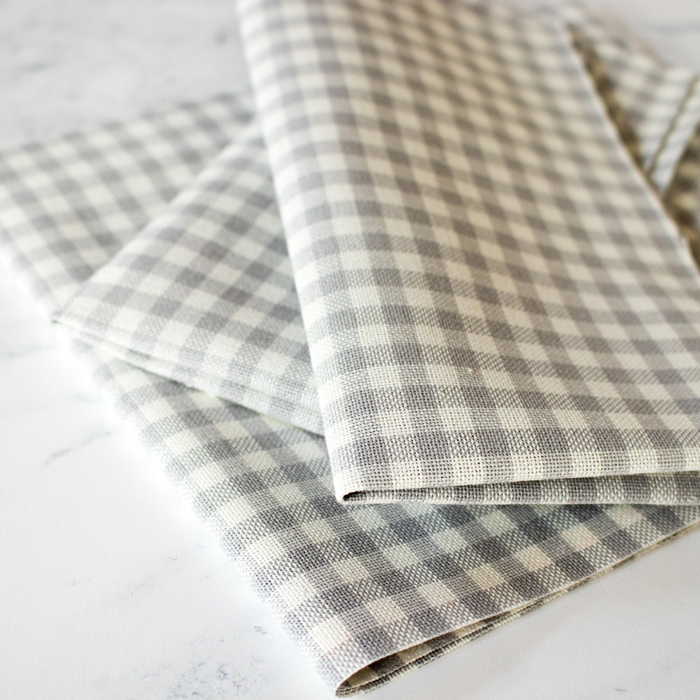 Gingham Check Lugana Evenweave Cross Stitch Fabric - Gray