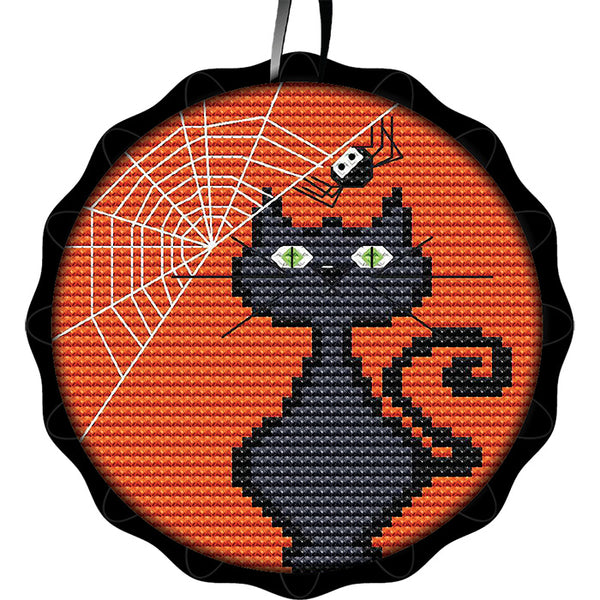 Tart Tin Cross Stitch Halloween Ornament Kit - Spooky Black Cat