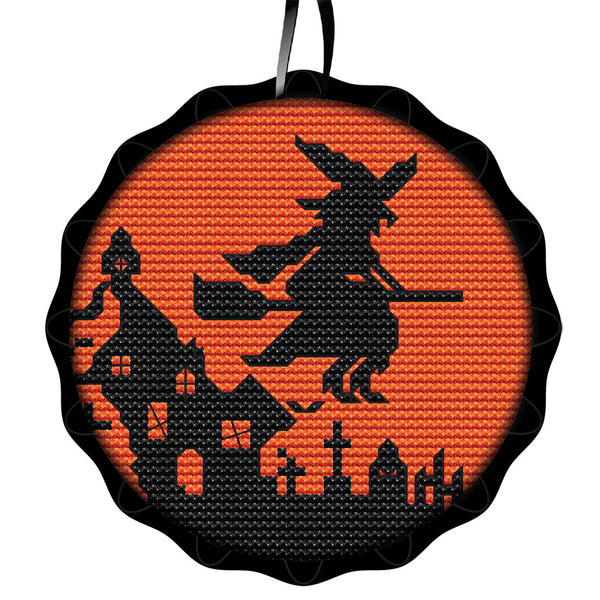 Tart Tin Cross Stitch Halloween Ornament Kit - Spooky Witch